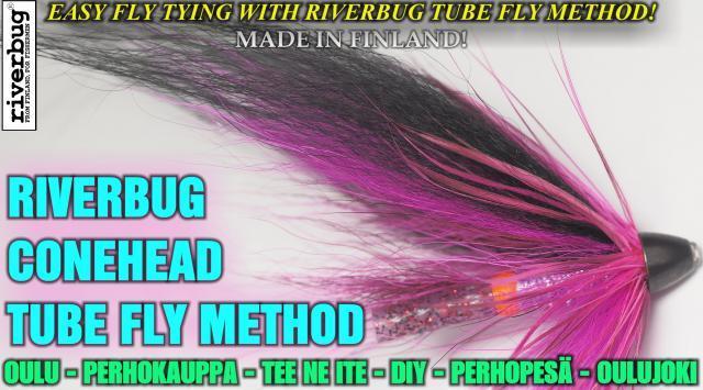 Conari Putkiperho ( Pinkkimusta ) lohelle ja taimenelle by RiverBug Tube Fly method. #perhopesä #conehead #coneheadfly #perhokauppa #perhonsidonta #riverbug #putkiperhot #lohiperhot #lohi #oulujoki #oulu #verkkokauppa #kalakauppa #oulukalakauppa #merikoski #boden #tornionjoki #putkiperhokoukku #koukku #koura