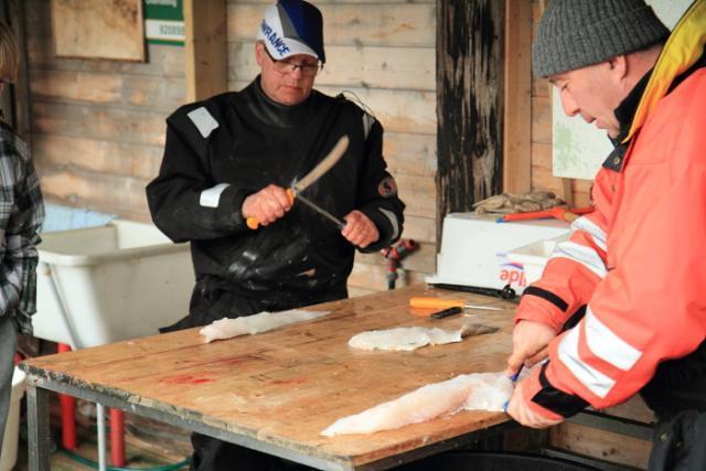 kalankäsittelypöytä ja turskan fileointi