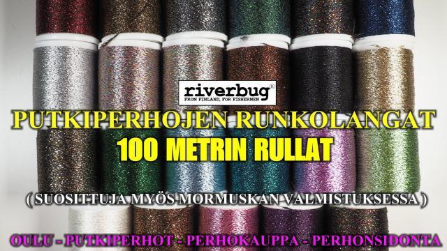 Perhon Runkolanka 1mm vahvuus. #perhokauppa #oulu #runkolangat #putkiperhot #kuusenkoriste #glitterlanka #glitteri #kimallelanka #riverbug #perhonsidonta #lankasetti #lankalajitelma #paksu #100mrulla